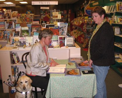 That's Jenny with Hanni and me a few years ago at The Bookstore in Glen Ellyn.