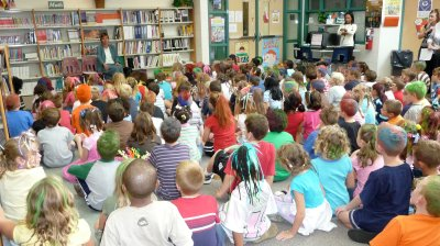 "The day of my visit to Walker's Grove Elementary in Plainfield, Ill., happened to be ""Weird Hair Day."" Now that's scary."