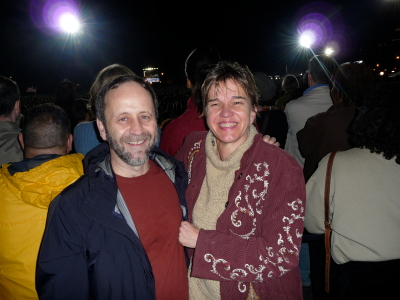 Mike and me at the Obama rally. With 75,000 close friends.