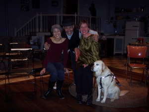 "That's Emjoy (the actress who played the woman who is blind), Ron OJ Parson (the director), me, and Hanni. We're on the set of Court Theatre's production of ""Wait Until Dark."""