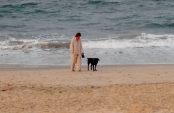 That's Dora -- my first Seeing Eye dog -- off duty on a stroll on the beach. She was 12 when she retired.