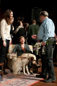 That's me and my Seeing Eye dog Harper with our Steppenwolf hosts during the on-stage touch tour of Who's Afraid of Virginia Woolf.