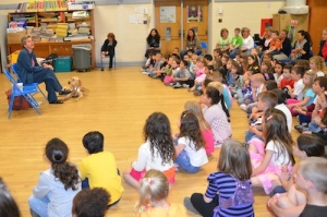 That's my Seeing Eye dog and me and first-graders during a previous visit to Daniel Street School on Long Island.