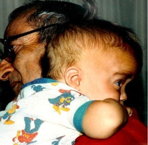 That's Gus with his Grandpa when he was little. Gus is 27 years old now.