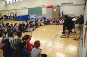 Daniel Street School in Lindenhurst and Beth's Seeing Eye dog Whitney; Photo by Erica Bohrer