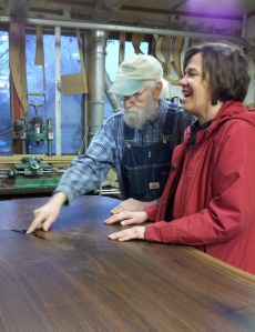 One of our stops was at Charlie Sweitzer's woodworking shop, where he and his son craft beautiful furniture.