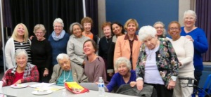 The whole class celebrated Wanda's (on my right) 94th birthday last year. Photo courtesy Darlene Schweitzer.