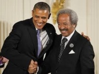 Allen Toussaint and the President after Toussaint received the Medal of Honor for the Arts, 2013.