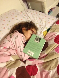 DJ Mermaid is six years old in this photo --her mom and dad found her asleep before bedtime with her nose in a book. Looks like it was another E.B. White favorite: Stuart Little.