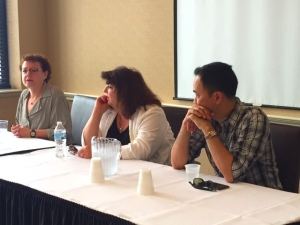 From left to right, Julia Keller, Jean Thompson, and Vu Tran.