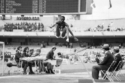 Bob Beamon, mid-flight during his record setting long jump at the 1968 Olympics in Mexico City.