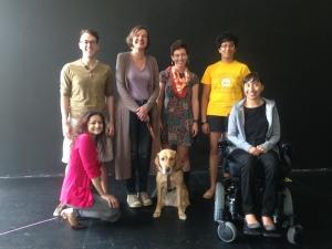 My class: (Clockwise - Andrew Lund, Beth Finke, Kathleen Guillion, Rukmini Girish, Michele Lee,, Whitney the Seeing Eye Dog, Grishma Shah) Courtesy Neo Futurists.