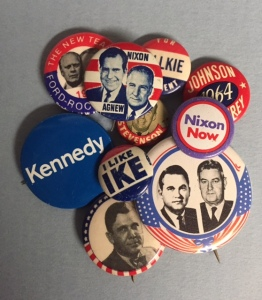 Cheryl's collection of campaign pins she's saved over the years.