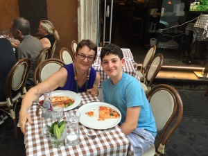 Sharon and Max dining in Rome.